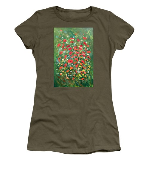 Women's T-Shirt (Junior Cut) featuring the painting Fresh Poppies From The Garden by Dorothy Maier