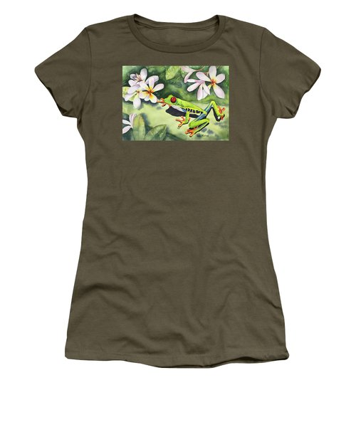 Frog And Plumerias Women's T-Shirt