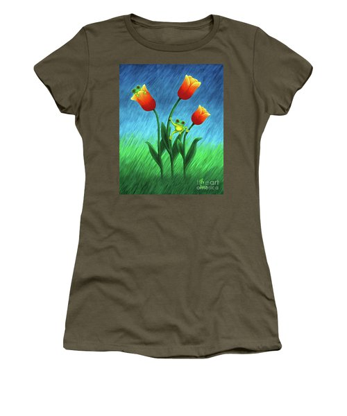 Froggy Tulips Women's T-Shirt (Athletic Fit)