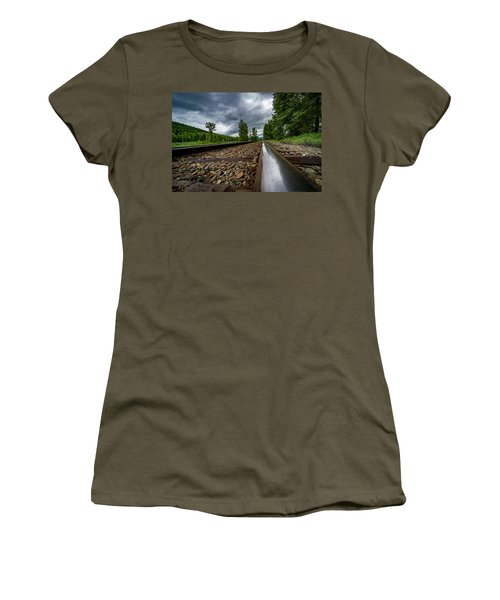 Women's T-Shirt (Junior Cut) featuring the photograph From The Track by Darcy Michaelchuk