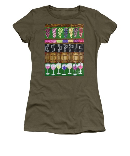 Women's T-Shirt (Junior Cut) featuring the painting From Vine To Wine by Katherine Young-Beck