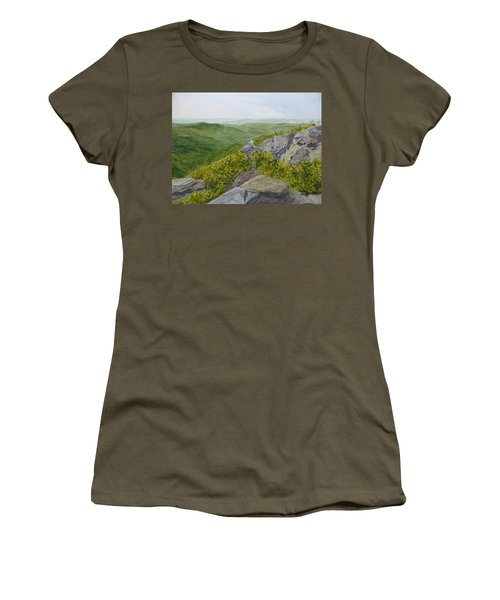 Women's T-Shirt (Athletic Fit) featuring the painting Front Row Seats by Joel Deutsch