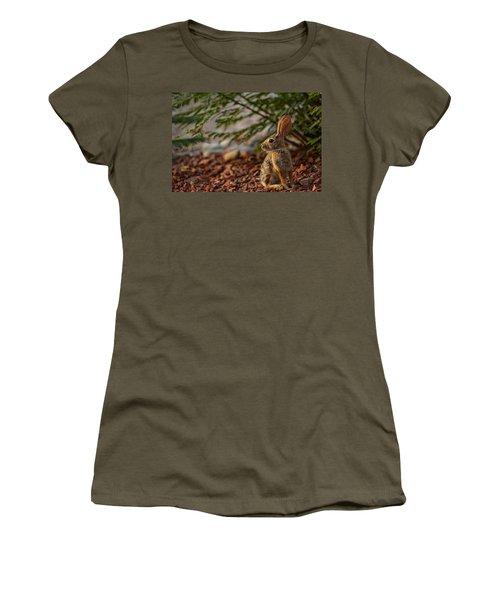 Women's T-Shirt featuring the photograph Frontyard Bunny by Dan McManus