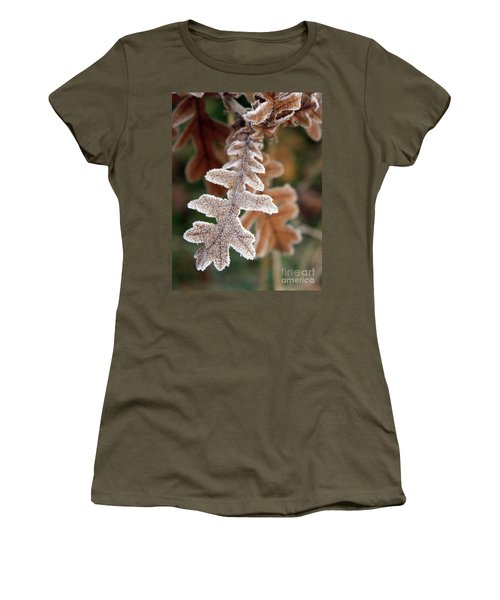 Frost Covered Oak Leaf Women's T-Shirt (Athletic Fit)