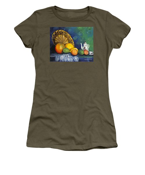 Fruit On Doily Women's T-Shirt (Junior Cut) by Marlene Book