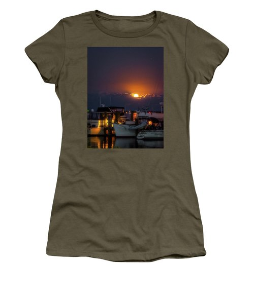 Full Moon At Titusville Women's T-Shirt