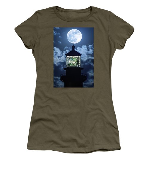 Full Moon Over Hillsboro Lighthouse In Pompano Beach Florida  Women's T-Shirt