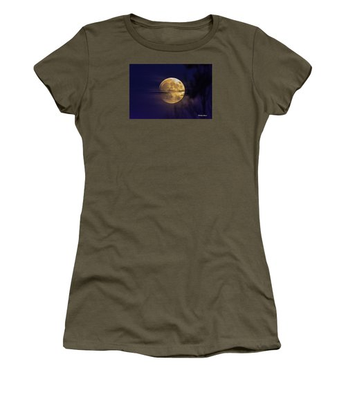 Women's T-Shirt (Junior Cut) featuring the photograph Full Moon Rise  by Stephen  Johnson