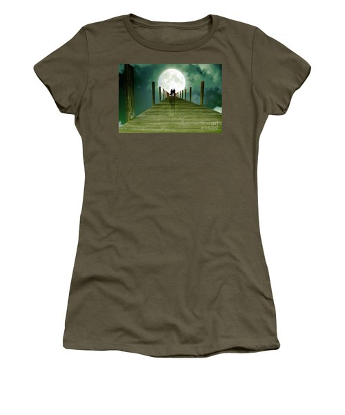 Full Moon Silhouette Women's T-Shirt (Athletic Fit)