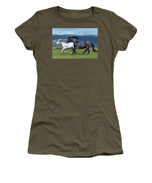 Galloping Through The Scenery In Wyoming Women's T-Shirt