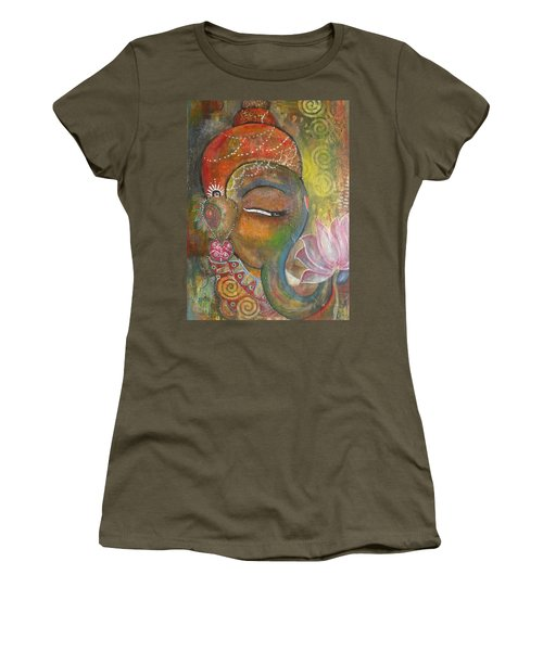 Ganesha With A Pink Lotus Women's T-Shirt (Athletic Fit)