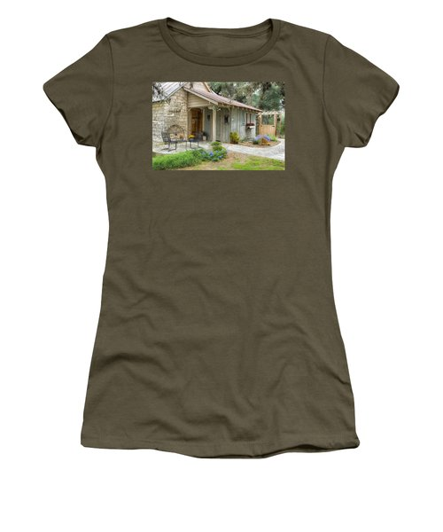 Women's T-Shirt (Junior Cut) featuring the tapestry - textile Garden Cottage by Kathy Adams Clark