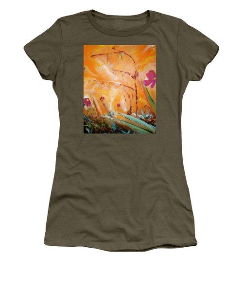 Women's T-Shirt (Junior Cut) featuring the painting Garden Moment by Winsome Gunning