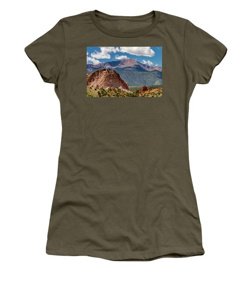 Women's T-Shirt (Junior Cut) featuring the photograph Garden Of The Gods And Pikes Peak by Bill Gallagher