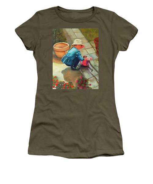 Women's T-Shirt (Athletic Fit) featuring the painting Gardening by Marlene Book
