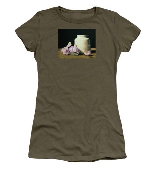 Women's T-Shirt (Junior Cut) featuring the painting Garlic Crock by Marna Edwards Flavell