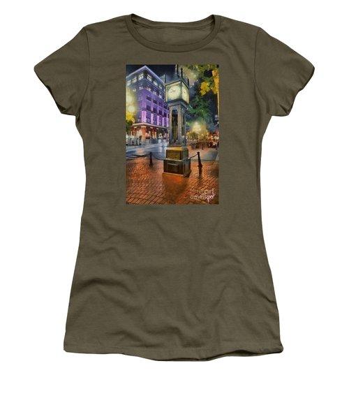 Women's T-Shirt (Junior Cut) featuring the digital art Gastown Sreamclock 1 by Jim  Hatch
