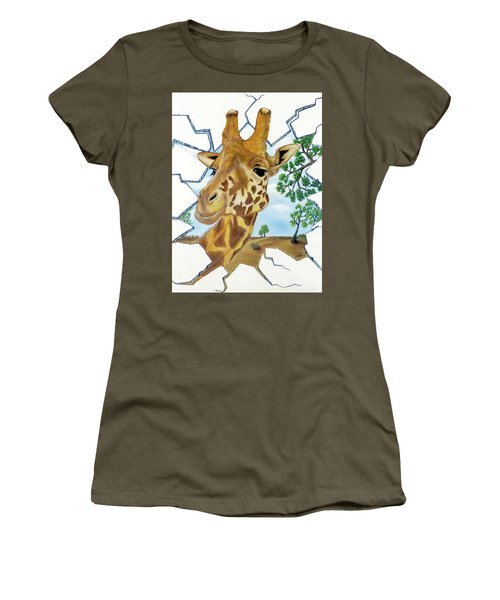Women's T-Shirt (Athletic Fit) featuring the painting Gazing Giraffe by Teresa Wing