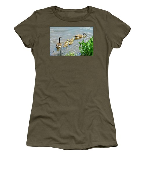 Women's T-Shirt featuring the photograph Geese And Goslings by Ludwig Keck