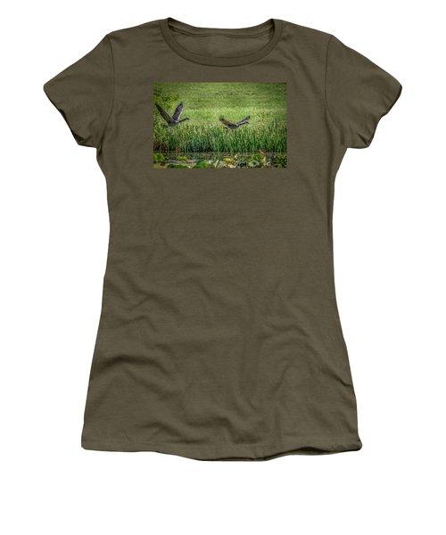 Geese In Flight Women's T-Shirt (Junior Cut) by Ray Congrove