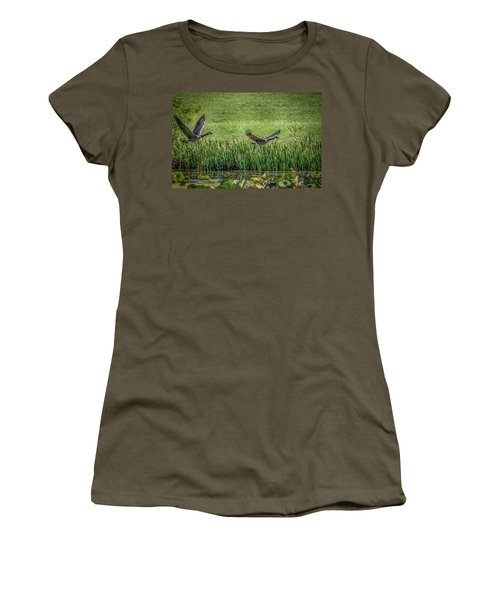 Geese In Flight Women's T-Shirt (Athletic Fit)