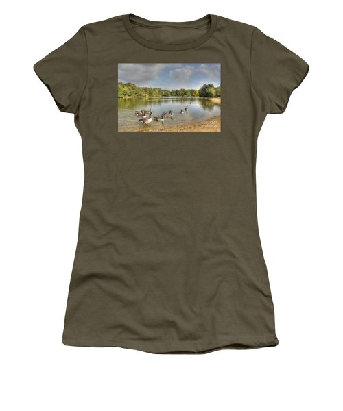 Geese On The Lake Hdr Women's T-Shirt (Athletic Fit)