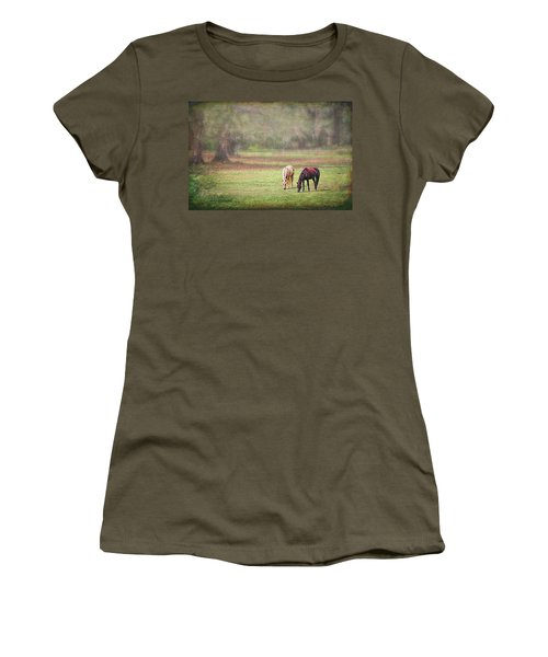 Women's T-Shirt (Athletic Fit) featuring the photograph Gently Grazing by Lewis Mann