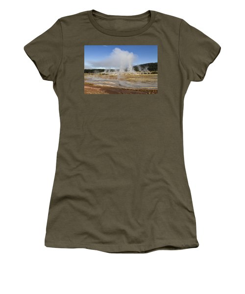 Gently Steaming Women's T-Shirt (Junior Cut) by Shirley Mitchell