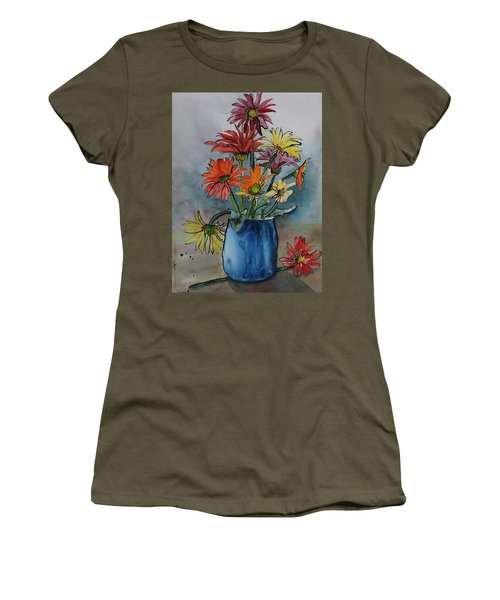 Women's T-Shirt featuring the painting Gerberas In A Blue Pot by Ruth Kamenev