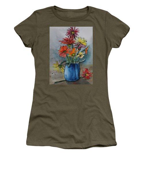 Gerberas In A Blue Pot Women's T-Shirt
