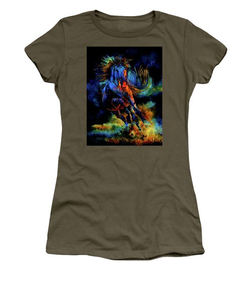 Women's T-Shirt (Athletic Fit) featuring the painting Ghostly Encounter by Hanne Lore Koehler