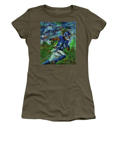 Women's T-Shirt (Junior Cut) featuring the painting Ny Giants -  Big Blue by Walter Fahmy