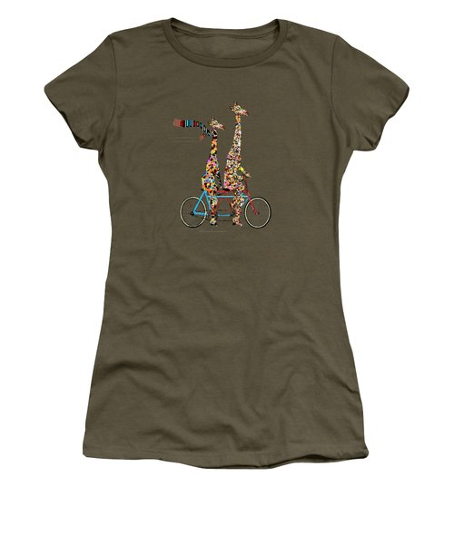 Women's T-Shirt (Junior Cut) featuring the painting Giraffe Days Lets Tandem by Bri B
