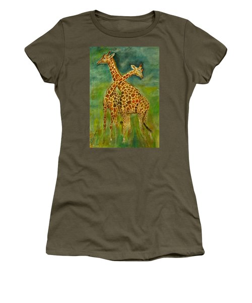 Lovely Giraffe . Women's T-Shirt (Athletic Fit)