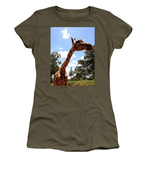 Giraffe Getting Personal 3 Women's T-Shirt (Athletic Fit)