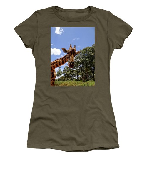 Giraffe Getting Personal 4 Women's T-Shirt (Athletic Fit)