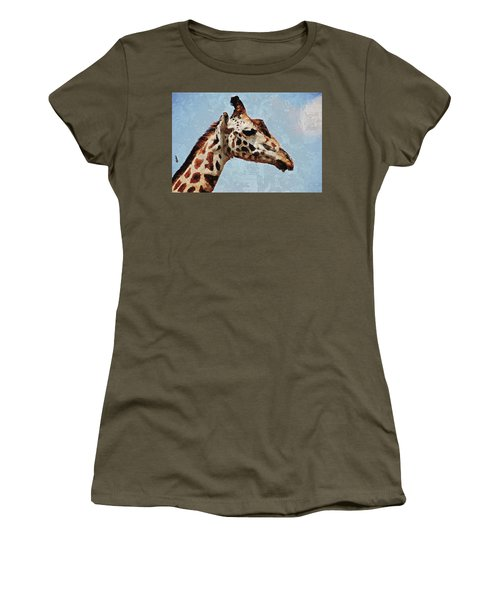 Women's T-Shirt (Athletic Fit) featuring the digital art Giraffe Safari  by PixBreak Art