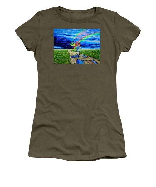 Women's T-Shirt (Junior Cut) featuring the painting Girl And Puddle by Viktor Lazarev
