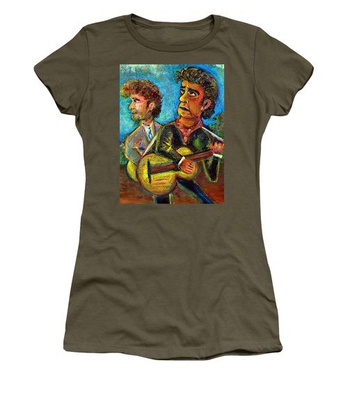 Girl From North Country Johnny Cash And Bob Dylab Women's T-Shirt (Junior Cut) by Jason Gluskin