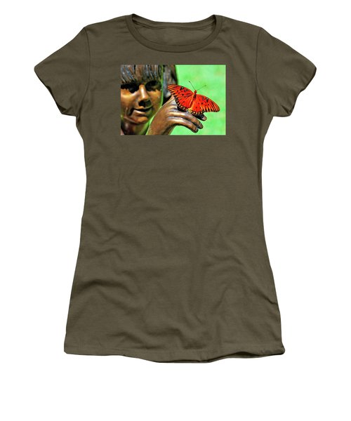 Women's T-Shirt featuring the photograph Girl With Butterfly by Ludwig Keck