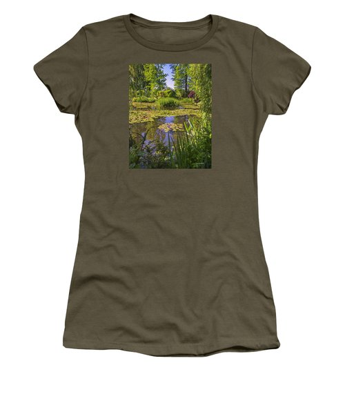 Women's T-Shirt (Junior Cut) featuring the photograph Giverny France - Claude Monet's Pond  by Allen Sheffield