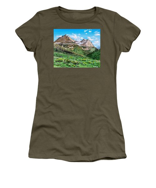 Women's T-Shirt featuring the painting Glacier Summer by Kevin Daly