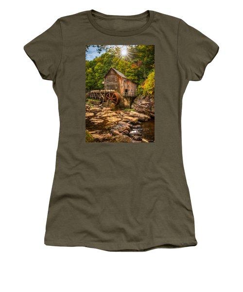 Women's T-Shirt (Junior Cut) featuring the photograph Glade Creek Mill Fall by Rebecca Hiatt