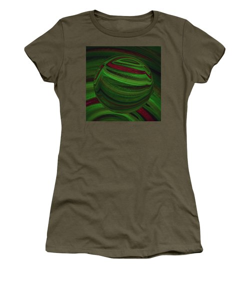 Women's T-Shirt (Athletic Fit) featuring the painting Glass Marble Ball  by Sheila Mcdonald