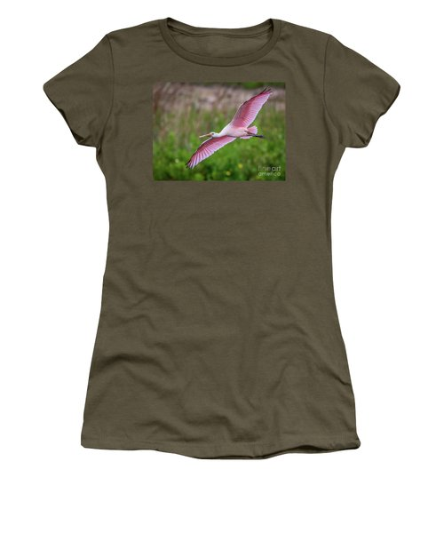 Women's T-Shirt featuring the photograph Gliding Spoonbill by Tom Claud