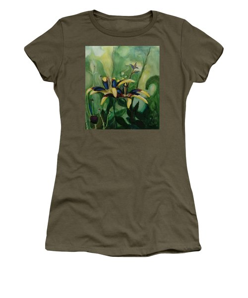 Women's T-Shirt featuring the painting Glowing Flora by Nicolas Bouteneff