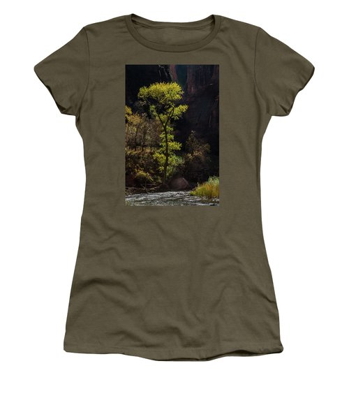 Women's T-Shirt featuring the photograph Glowing Tree At Zion by James Woody