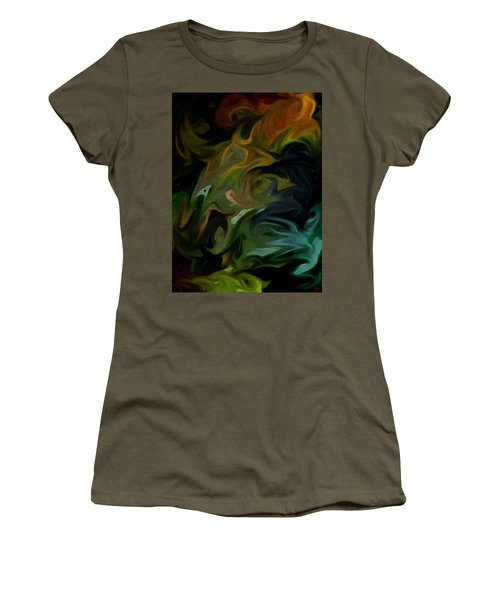 Women's T-Shirt (Junior Cut) featuring the painting Goblinz Abstract by Sheila Mcdonald