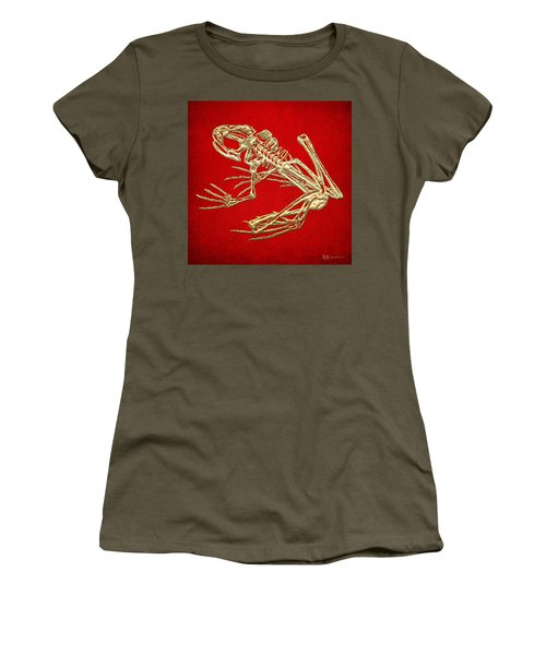 Gold Frog Skeleton On Red Leather Women's T-Shirt