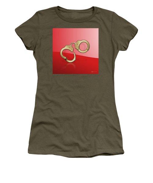 Gold Handcuffs On Red Women's T-Shirt